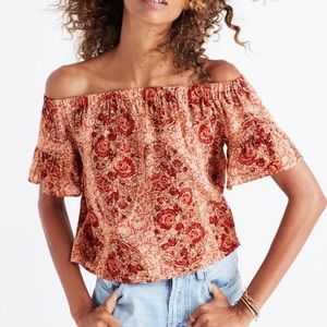 Madewell paisley silk off the shoulders crop top